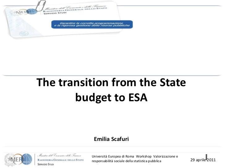 The transition from the State budget to ESA Emilia Scafuri Università Europea di Roma  Workshop  Valorizzazione e respon...