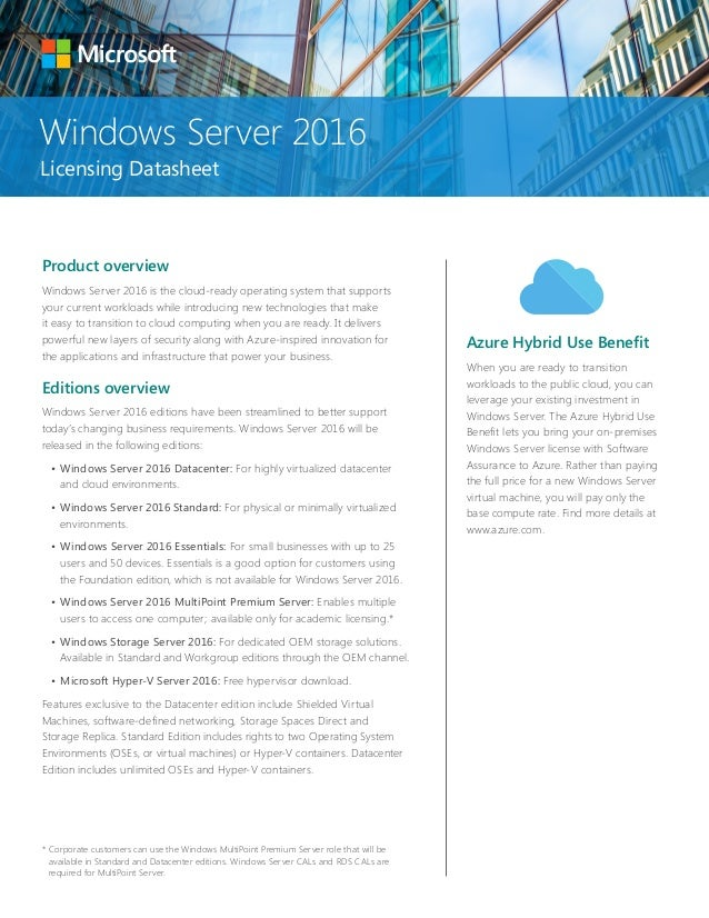 Windows Server 2016 licensing datasheet