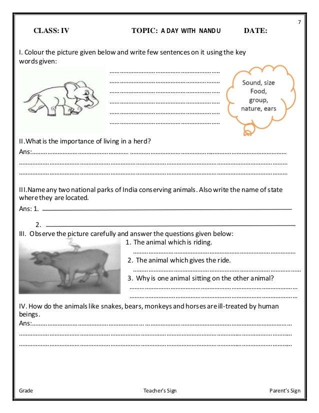 Class Iv Evs Worksheets