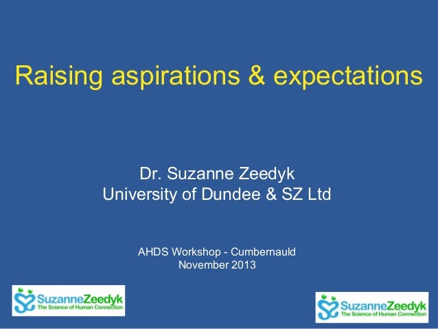 Raising aspirations & expectations  Dr. Suzanne Zeedyk University of Dundee & SZ Ltd AHDS Workshop - Cumbernauld November ...