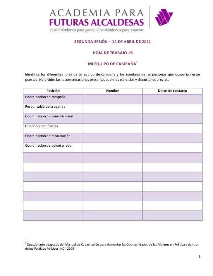 SEGUNDA SESIÓN – 14 DE ABRIL DE 2011<br />HOJA DE TRABAJO #6<br />MI EQUIPO DE CAMPAÑA<br />Identifica los diferentes role...