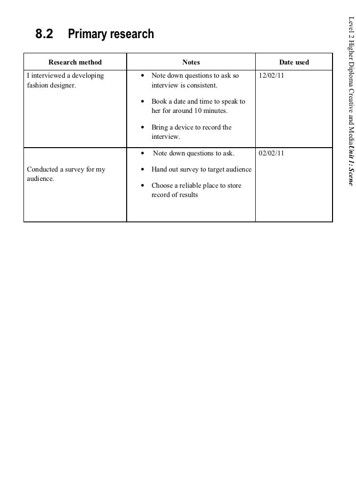 Level 2 Higher Diploma Creative and MediaUnit 1: Scene  8.2        Primary research       Research method                 ...