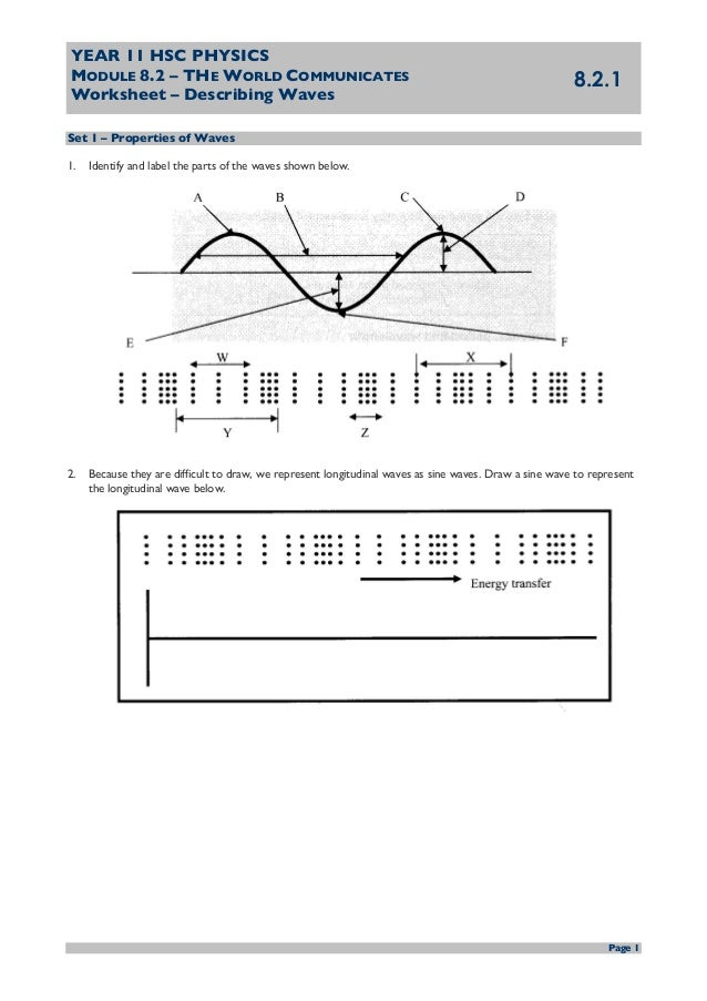 Ws 821 describing waves questions – Wave Properties Worksheet