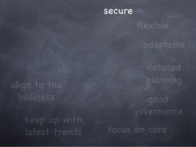 keep up with latest trends focus on core adaptable align to the business good governance secure detailed planning flexible