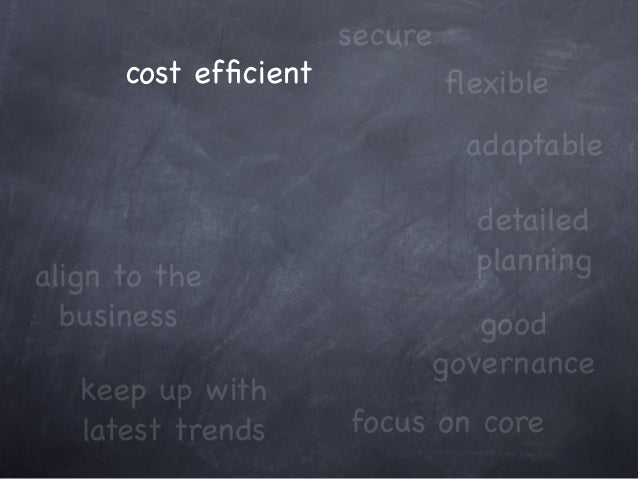cost efficient keep up with latest trends focus on core adaptable align to the business good governance secure detailed pla...