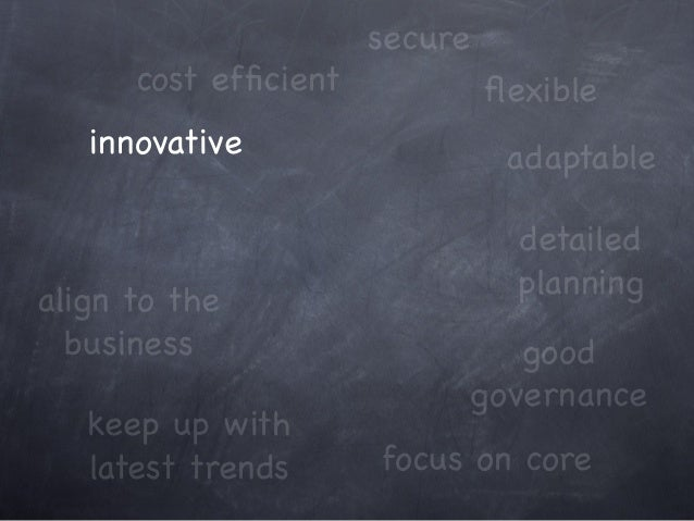 innovative cost efficient keep up with latest trends focus on core adaptable align to the business good governance secure d...