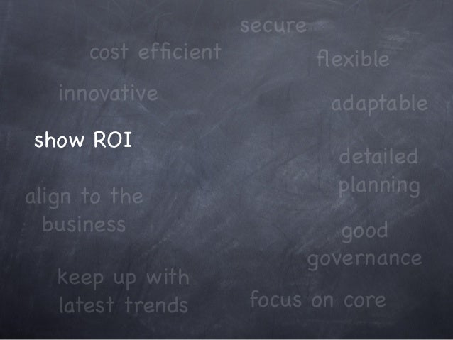 innovative cost efficient keep up with latest trends show ROI focus on core adaptable align to the business good governance...