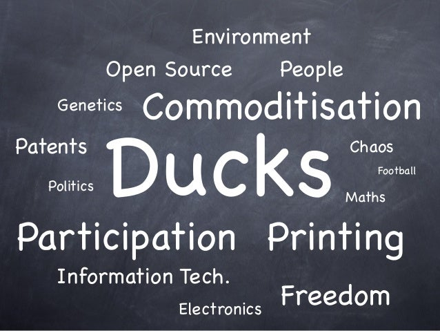 Printing Ducks Open Source Information Tech. Football Chaos Politics Genetics People Participation Freedom Environment Ele...