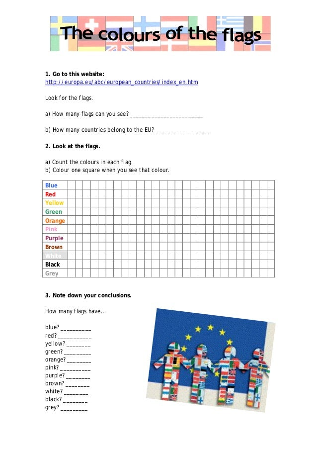 1. Go to this website: http://europa.eu/abc/european_countries/index_en.htm Look for the flags. a) How many flags can you ...