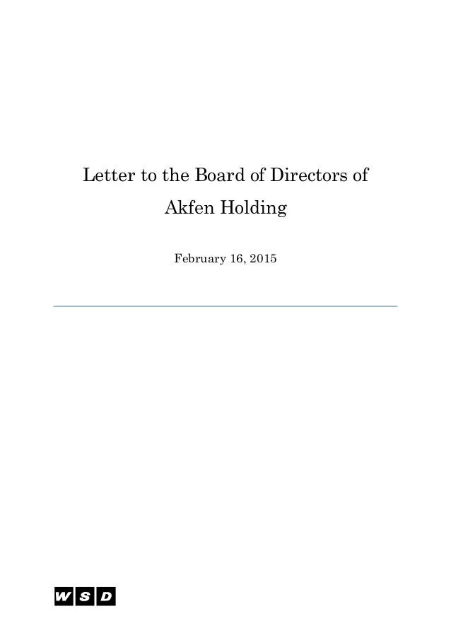 Letter to the Board of Directors of Akfen Holding February 16, 2015
