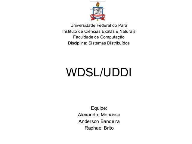 WDSL/UDDI Universidade Federal do Pará Instituto de Ciências Exatas e Naturais Faculdade de Computação Disciplina: Sistema...