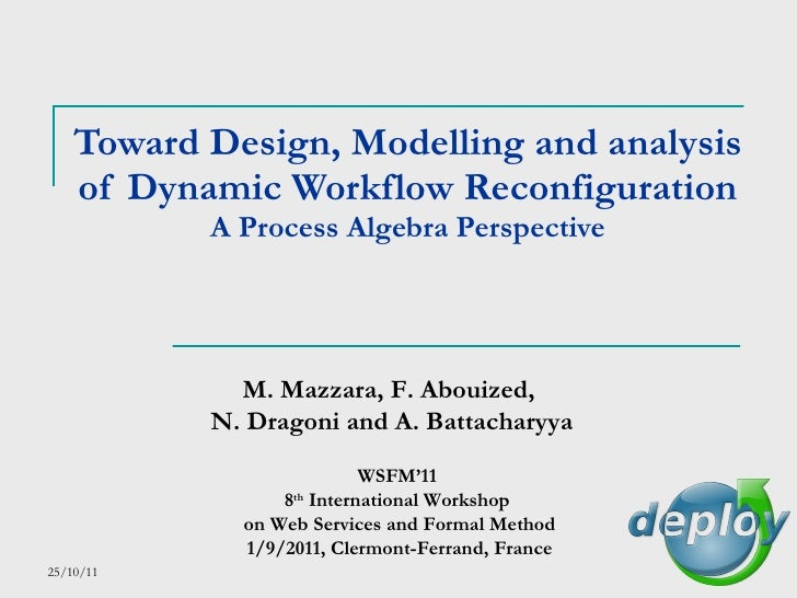 Toward Design, Modelling and analysis of Dynamic Workflow Reconfiguration A Process Algebra Perspective M. Mazzara, F. Abo...