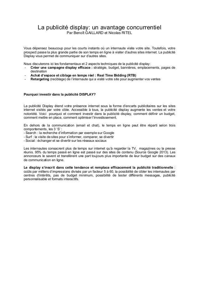 La publicité display: un avantage concurrentiel Par Benoît GAILLARD et Nicolas RITEL  Vous dépensez beaucoup pour les cour...