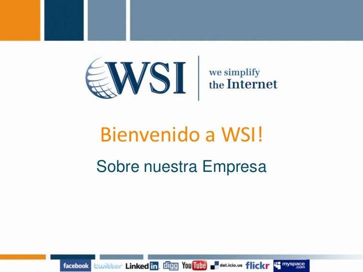 Bienvenido a WSI!<br />Sobre nuestra Empresa<br />