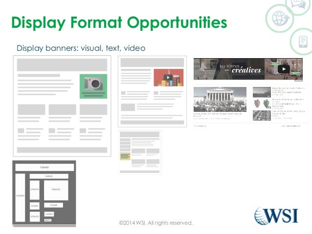 Display Format Opportunities  Display banners: visual, text, video  ©2014 WSI. All rights reserved.