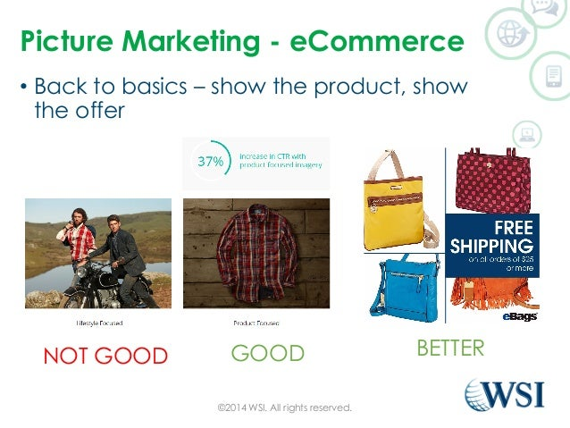 Picture Marketing - eCommerce  • Back to basics – show the product, show  the offer  NOT GOOD GOOD BETTER  ©2014 WSI. All ...