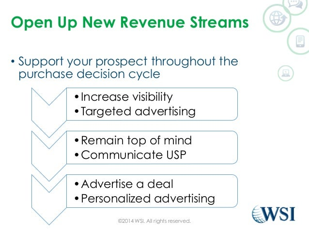 Open Up New Revenue Streams  • Support your prospect throughout the  purchase decision cycle  ©2014 WSI. All rights reserv...