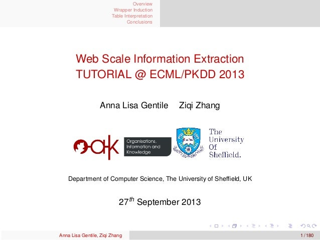 Overview Wrapper Induction Table Interpretation Conclusions Web Scale Information Extraction TUTORIAL @ ECML/PKDD 2013 Ann...