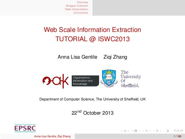 Overview Wrapper Induction Table Interpretation Conclusions  Web Scale Information Extraction TUTORIAL @ ISWC2013 Anna Lis...