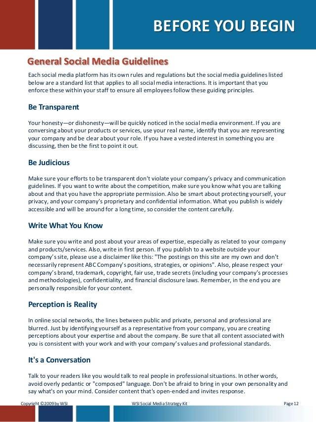 employee social media policy template - social media strategy social media policy kit by gregg