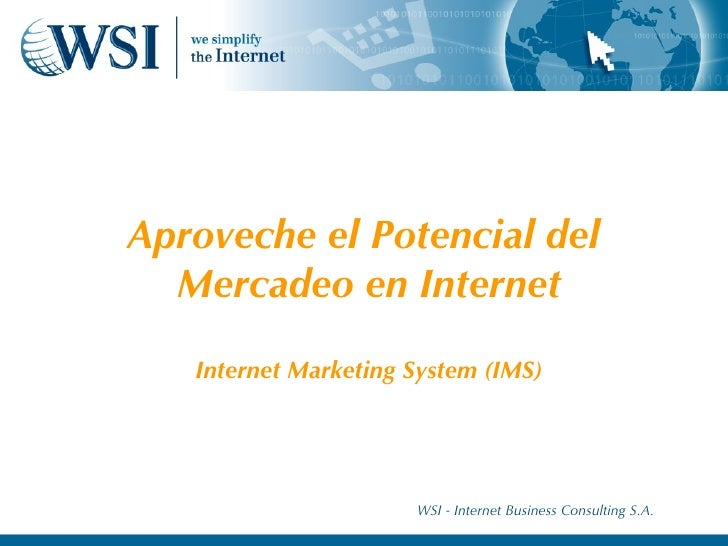 Aproveche el Potencial del  Mercadeo en Internet Internet Marketing System (IMS) WSI - Internet Business Consulting S.A.