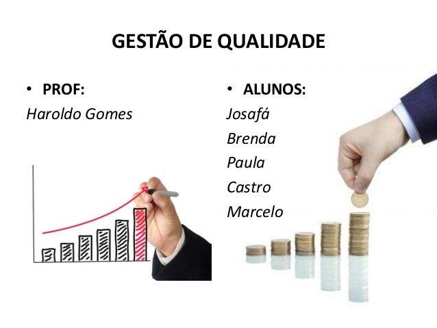 GESTÃO DE QUALIDADE • PROF: Haroldo Gomes • ALUNOS: Josafá Brenda Paula Castro Marcelo