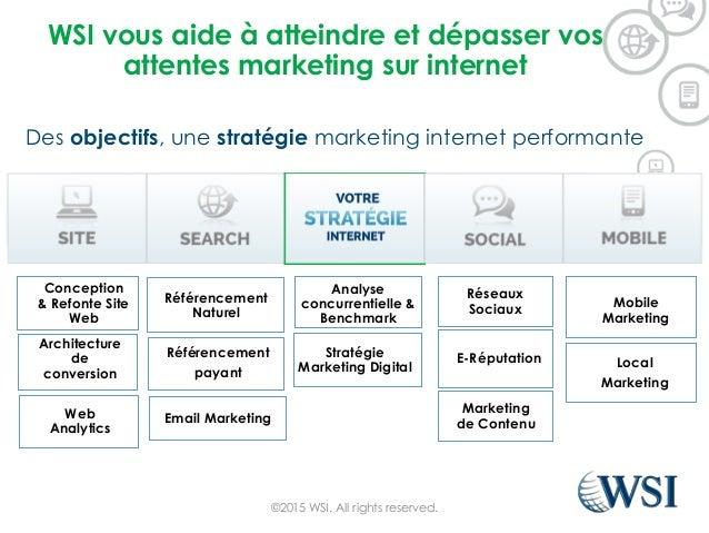 WSI vous aide à atteindre et dépasser vos attentes marketing sur internet Des objectifs, une stratégie marketing internet ...