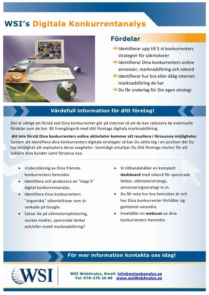 WSI's Digitala Konkurrentanalys                                                       Fördelar                            ...