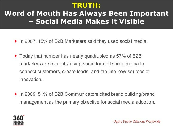 TRUTH: Social Media is a trusted source for many purchase decisions and product opinions – especially in B2B.
