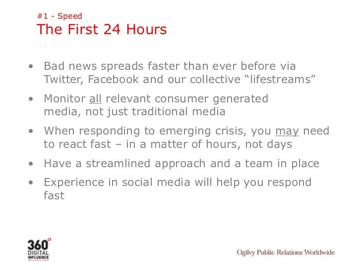 #1 - Speed<br />The First 24 Hours<br /><ul><li>Bad news spreads faster than ever before via Twitter, Facebook and our col...