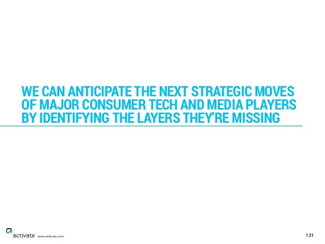 131 WE CAN ANTICIPATE THE NEXT STRATEGIC MOVES OF MAJOR CONSUMER TECH AND MEDIA PLAYERS BY IDENTIFYING THE LAYERS THEY'RE ...