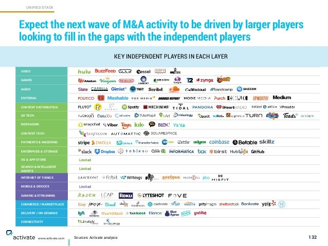 132 KEY INDEPENDENT PLAYERS IN EACH LAYER Expect the next wave of M&A activity to be driven by larger players looking to f...