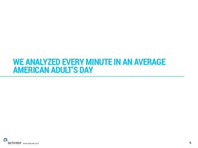 6 WE ANALYZED EVERY MINUTE IN AN AVERAGE AMERICAN ADULT'S DAY www.activate.com