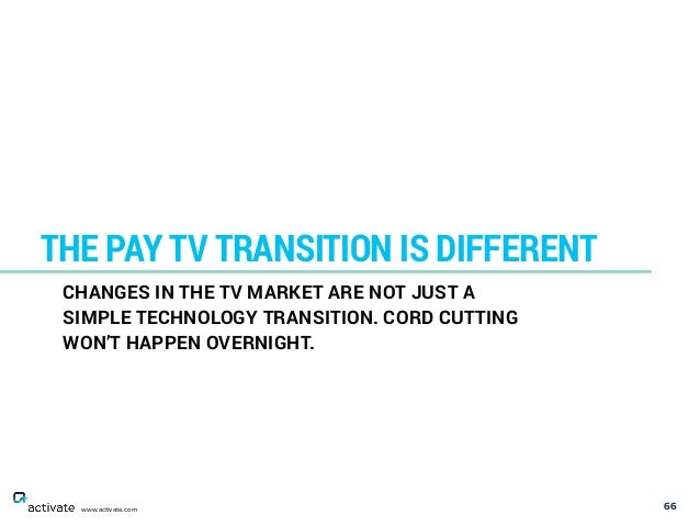 66 THE PAY TV TRANSITION IS DIFFERENT www.activate.com CHANGES IN THE TV MARKET ARE NOT JUST A SIMPLE TECHNOLOGY TRANSITIO...