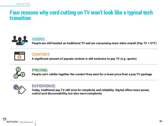 67 Four reasons why cord cutting on TV won't look like a typical tech transition X C www.activate.com USERS: 