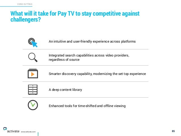 What will it take for Pay TV to stay competitive against challengers? 85 CORD CUTTING X C www.activate.com An intuitive an...