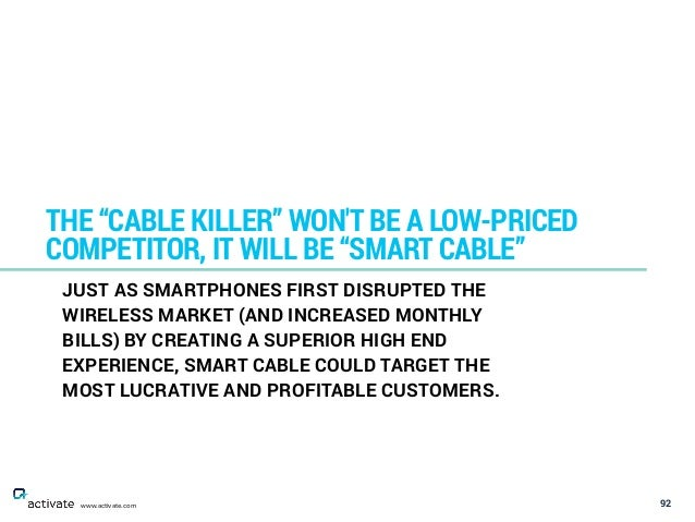 "92 THE ""CABLE KILLER"" WON'T BE A LOW-PRICED COMPETITOR, IT WILL BE ""SMART CABLE"" www.activate.com JUST AS SMARTPHONES FIRS..."