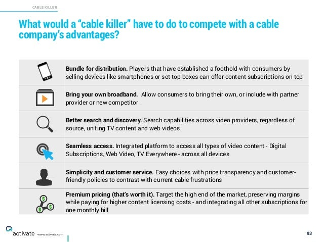 """What would a """"cable killer"""" have to do to compete with a cable company's advantages? 93 CABLE KILLER X C www.activate.com ..."""
