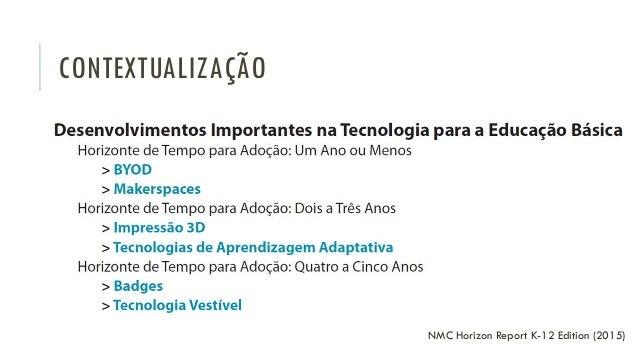 CONTEXTUALIZAÇÃO NMC Horizon Report K-12 Edition (2015)