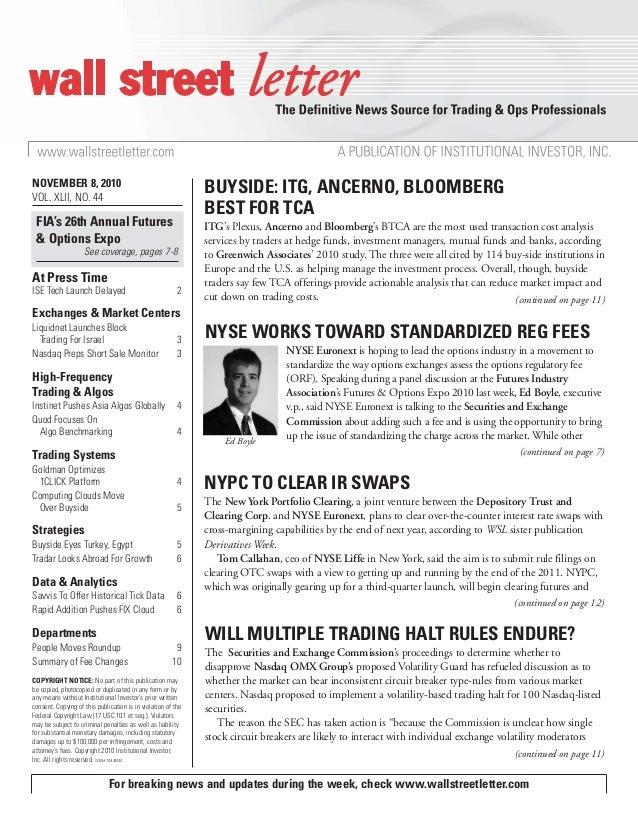 Wall Street Letter - 11 08 10