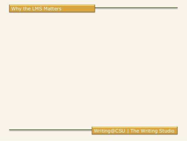 Why the LMS Matters Writing@CSU | The Writing Studio