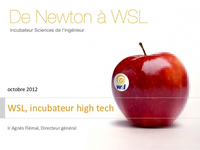 octobre 2012WSL, incubateur high techIr Agnès Flémal, Directeur général