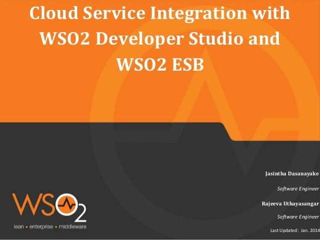 Cloud Service Integration with WSO2 Developer Studio and WSO2 ESB  Jasintha Dasanayake Software Engineer Rajeeva Uthayasan...