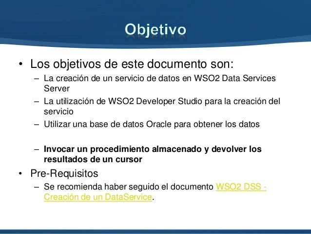 WSO2 DSS - Calling stored procedures with cursors Slide 2