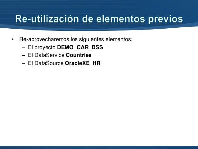 • Re-aprovecharemos los siguientes elementos: – El proyecto DEMO_CAR_DSS – El DataService Countries – El DataSource Oracle...