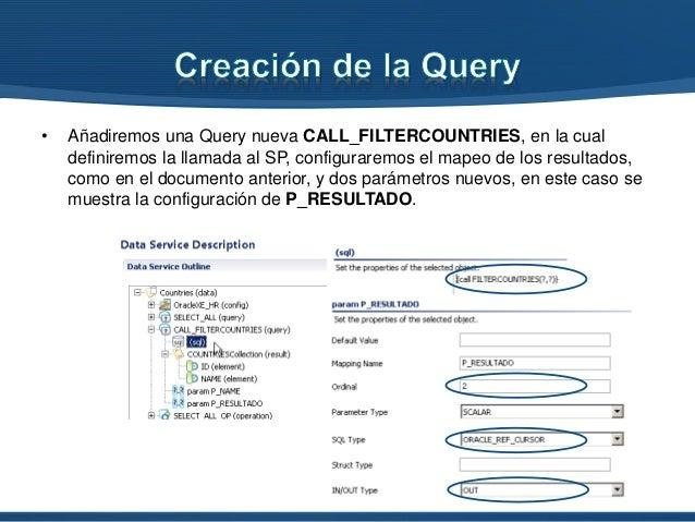 • Añadiremos una Query nueva CALL_FILTERCOUNTRIES, en la cual definiremos la llamada al SP, configuraremos el mapeo de los...