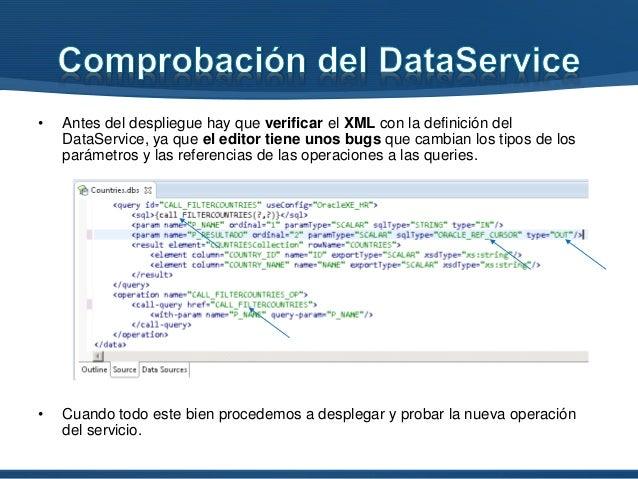 • Antes del despliegue hay que verificar el XML con la definición del DataService, ya que el editor tiene unos bugs que ca...