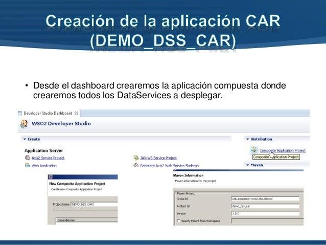 • Desde el dashboard crearemos la aplicación compuesta donde crearemos todos los DataServices a desplegar.