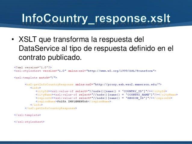 • XSLT que transforma la respuesta del DataService al tipo de respuesta definido en el contrato publicado.
