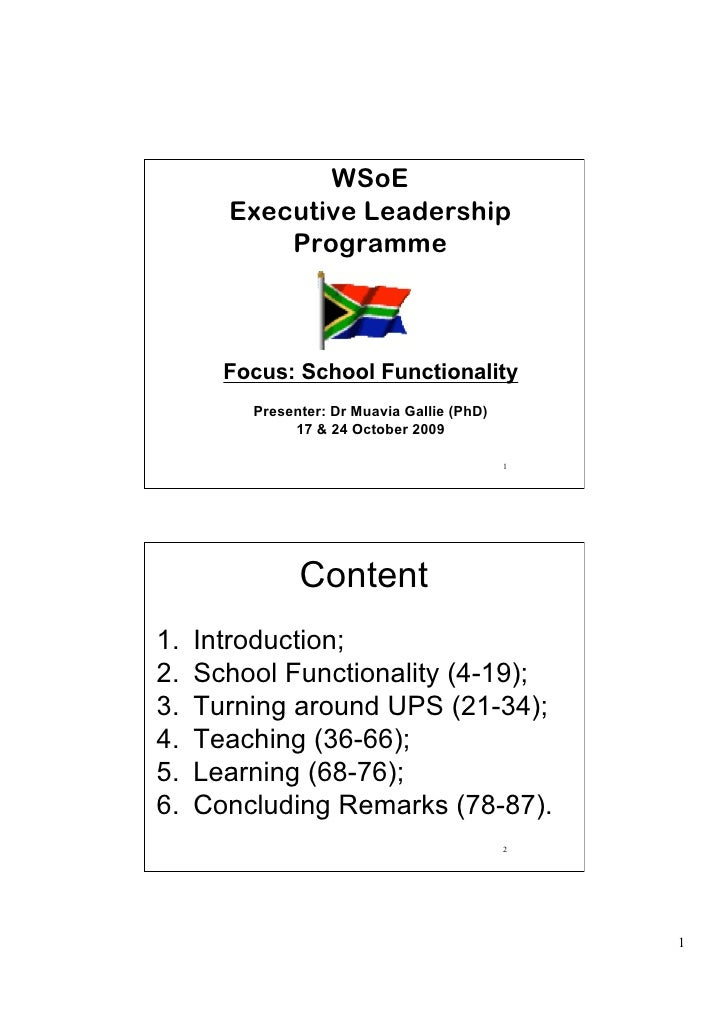 WSoE        Executive Leadership            Programme           Focus: School Functionality          Presenter: Dr Muavia ...